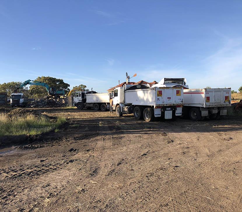 trucks moving rocks Burly Park Estate_sqr